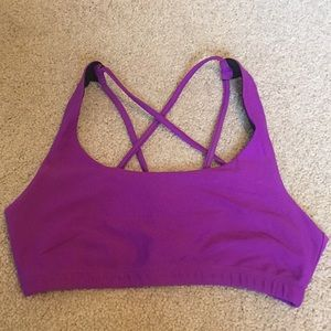 Onzie S/M flow yoga sports bra purple black
